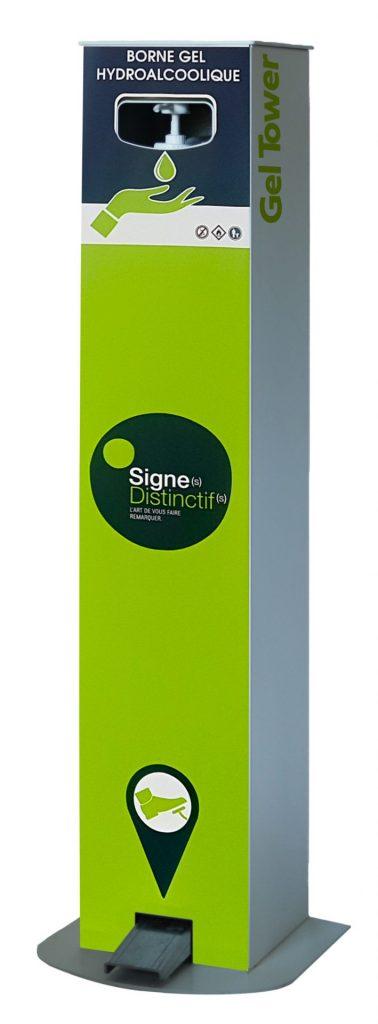 Borne distributeur de gel hydroalcoolique à pédale Sign distinctif