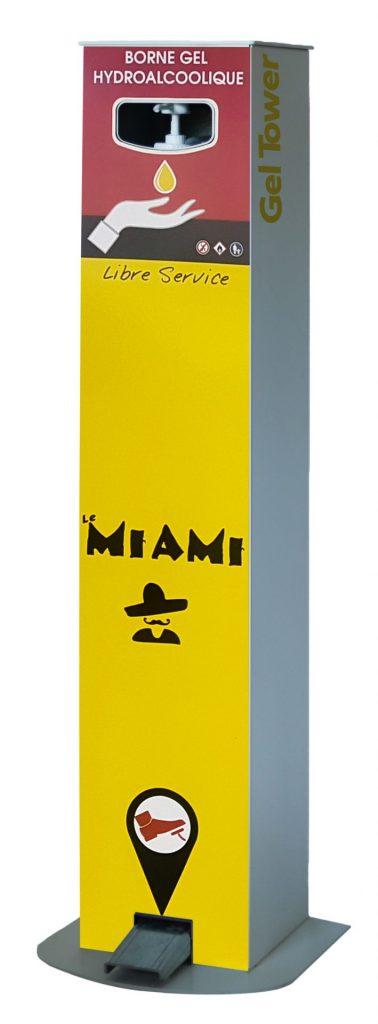 Borne distributeur de gel hydroalcoolique à pédale Miami