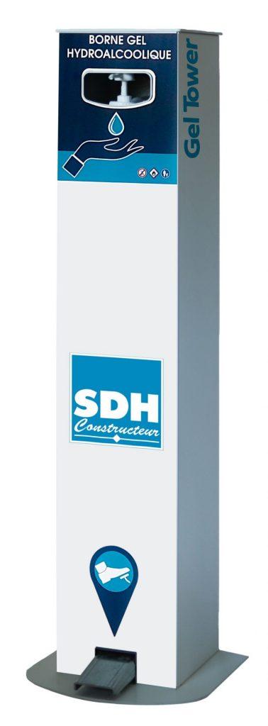 Borne distributeur de gel hydroalcoolique à pédale SDH