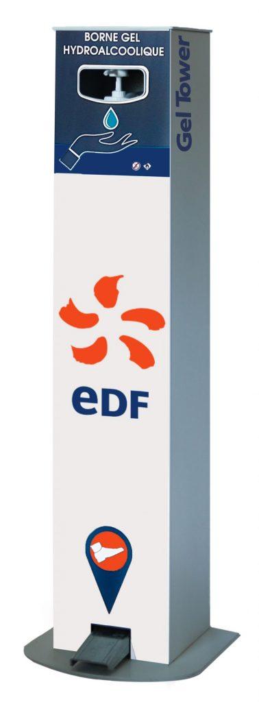 Borne distributeur de gel hydroalcoolique à pédale EDF